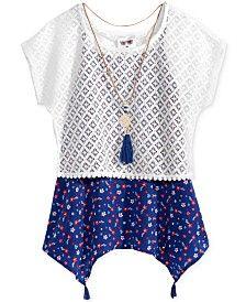 Self Esteem 2-Pc. Lace Popover, Shirt and Necklace Set, Big Girls (7-16)