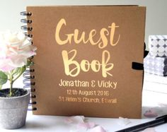 Personalised Gold Wedding Guest Book by GLDstationery on Etsy