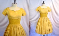 janessa  Spectacular Vintage 40's Yellow Party Dress