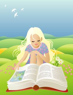 Girl reading - me and my daughter can fit this image.