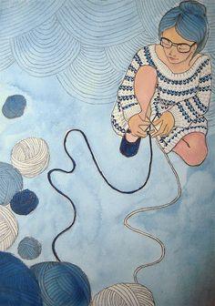 Illustration by Sarah Ryan on Bibliocolors Knitting Quotes, Knitting Humor, Crochet Humor, Knit Art, Yarn Bombing, Illustration, Crochet Yarn, Belle Photo, Bunt