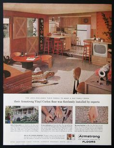1959 armstrong floor ads 1950s family room by retroreveries