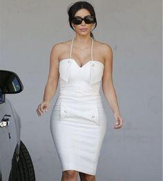Kim K white halter bodycon dress