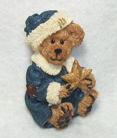 Boyds Bear Christmas Brooch Pin - Winter Bear with Gold Star - Cute Holiday…