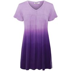 LL Womens Dip Dye V Neck Short Sleeve Pleats Tunic Top ($24) ❤ liked on Polyvore…