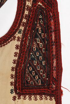 Sayias, bridal and festive, summer, cotton, sleeveless overcoat, detail of the decoration at the chest: applique loutres and the embroidered tsapari. Grevena , Macedonia Northern Greece