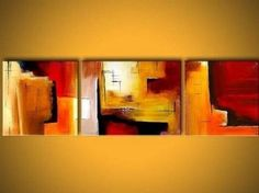 Amazon.com: Red Abstract Art 3 Piece Wall Art 100% Hand Painted Oil Painting Free Shipping Canvas Art Modern Art Abstract Art Home Decoration (Unstretched No Frame): Home & Kitchen