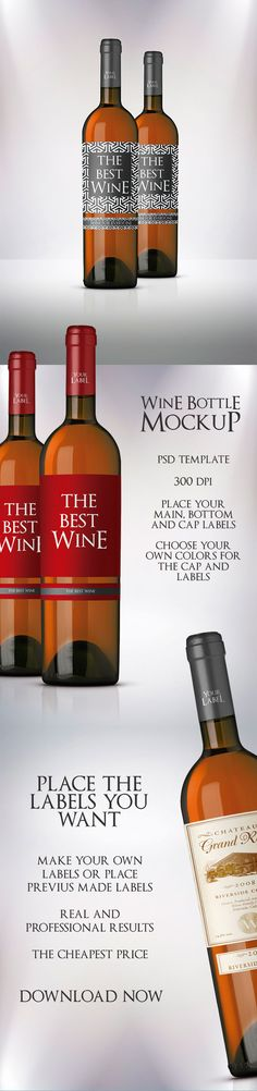 Premium Wine Bottle Mockup Template to show your wine bottle product in a professional way. Real and high definition picture of a wine bottles. 300 dpi. Customize the label and cap colors, very easy to do. Text font included too. Get now Wine Bottle Mockup Template.  #wine #mockup #bottle #winemockup #drinks #drink #winebottlemockup #ad