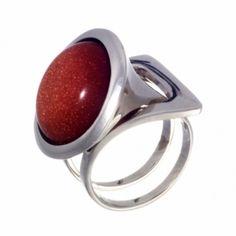 Кольцо с коричневым авантюрином Комплект 60