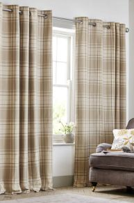 Natural Soft Woven Check Eyelet Curtains