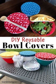 Make your own elastic bowl covers to save food beginner sewing projects 12 sewing projects for summer fun! + free patterns + tutorial fabric head band hair tie head wrap diy hair band easy sewing projects for beginners elastic Easy Sewing Projects, Sewing Projects For Beginners, Sewing Hacks, Sewing Tutorials, Sewing Crafts, Sewing Tips, Sewing Machine Projects, Maxi Dress Tutorials, Christmas Sewing Projects