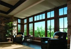 A-Series Casement Windows, Pine Interior, Specified Equal Light Grille Pattern