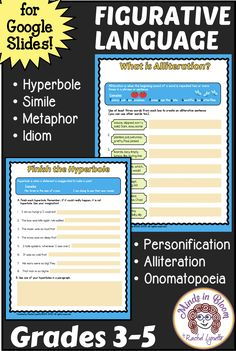 Keep your students learning with these easy-to-use figurative language google slides. Each type of figurative language is introduced with a definition and examples. Students also get plenty of opportunities to practice. Includes simile, metaphor, idiom, hyperbole, personification, alliteration, and onomatopoeia. Comes with print version. What Is Alliteration, English Language, Language Arts, Home Teaching, Similes And Metaphors, Context Clues, Figurative Language, Three Words, Idioms