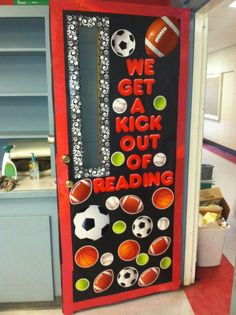 """Sports themed classroom door - write the name of the book they read on a """"ball"""" and add it to the door/board"""