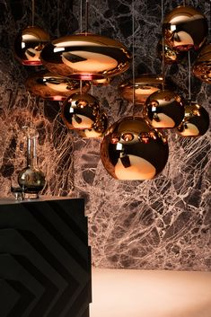 The original, familiar sphere gets squashed then stretched to create a new pair of complimentary forms in the trademark mirrored copper. Copper Pendant Lights, Copper Lighting, Modern Pendant Light, Pendant Lighting, Copper Room, Copper Decor, Dining Room Light Fixtures, Pendant Light Fixtures, Mirror Ceiling