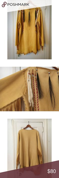 Authentic Leather Native American Indian Garb Amazing vintage find. All 100% real leather with fringe, hand beaded detail, and real animal fur. Small black stain on the front. Will take offers. Other