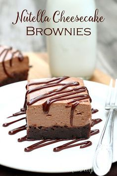 Nutella Cheesecake Brownies | Dense chewy brownies topped with creamy no-bake Nutella cheesecake make for an impressive chocolate dessert. #recipe