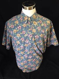 REYN SPOONER Floral Cotton Blend XL Men's S/S  Hawaiian Luau Dress Shirt…