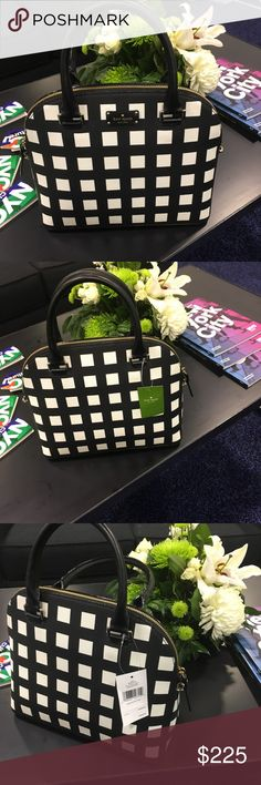 NWT - Black and White Kate Spade Carli Grove Bag New with tags! Black and white checkered authentic Kate Spade. Can wear any season! kate spade Bags Shoulder Bags
