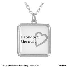 i love you the most cute heart square pendant necklace