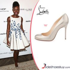 9d55907f5d8 Lupita Nyong o in Christian Louboutin Fifi Pumps in Pale Gold Leather---