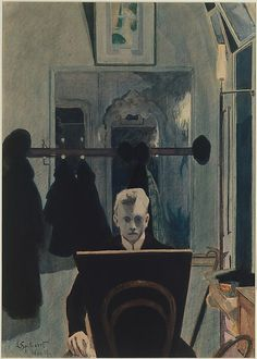Self-Portrait / Leon Spilliaert / 1907 / gouache, watercolor, and colored pencil on paper / at the Met