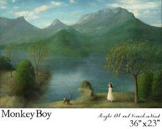 "Stephen Mackey -Monkey Boy, acrylic oil and varnish on wood. 36x23"""