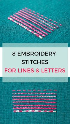 Embroidery Designs Patterns 7 alternatives to using back stitch for lines and letters in your embroidery - Do you want to use embroidery stitches for lines Simple Embroidery, Learn Embroidery, Ribbon Embroidery, Embroidery Art, Cross Stitch Embroidery, Beginner Embroidery, Local Embroidery, Modern Embroidery, Machine Embroidery