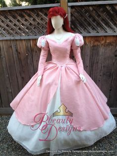 Ariel Little Mermaid Inspired Romantic Pink Dinner Dress Off the Shoulder Piped Adult Gown by BbeautyDesigns on Etsy https://www.etsy.com/listing/200088949/ariel-little-mermaid-inspired-romantic