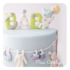 baby shower cake - clothes line
