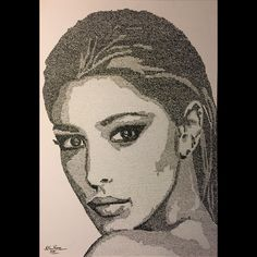 Numbers portrait of Belen Rodriguez on paper 70x50