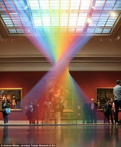 spectacular INDOOR rainbow in the centre of an art gallery Dawe studied at the University of Texas in Dallas and has exhibited his work in Dallas, Ho.Dawe studied at the University of Texas in Dallas and has exhibited his work in Dallas, Ho. Light Art Installation, Art Installations, Instalation Art, Mexican Artists, String Art, Public Art, Oeuvre D'art, Architecture, State Parks