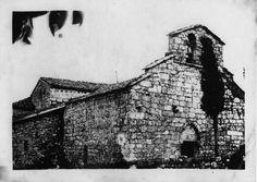Igrexa románica de San Fiz de Cangas. Pantón, Lugo, ca.  1900. Xelatina de prata ao clorobromuro. 13 x 18 cm.