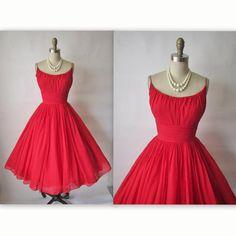 1950's Red Chiffon Dress