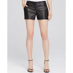 Alice + Olivia Cady Leather Shorts ($465) ❤ liked on Polyvore