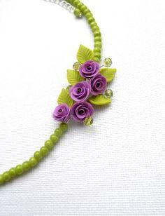 Collier de fleurs collier vert bijoux de lavande par insoujewelry