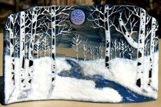 Spring Thaw fused glass  moonlight aspen trees  snow,  home decor