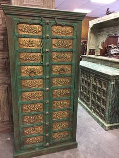 Vintage Cabinet Brass Floral carved doors from Jaipur India, old reclaimed haveli doors, original brass carvings, open onto a large three shelf storage area. Round Brass Pulls on Door and iron latch add to the rustic beauty. Eclectic Furniture, Green Furniture, Indian Furniture, Home Decor Furniture, Rustic Furniture, Antique Furniture, Reproduction Furniture, Design Furniture, Cabinet Furniture