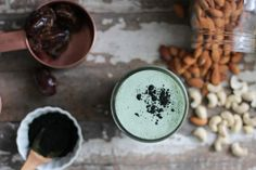 Blue-green Spirulina Milk is a delicious naturally vegan creamy and sweet milk made with protein and mineral rich spirulina, nuts, dates, and vanilla. Milk Recipes, Raw Food Recipes, Healthy Recipes, Vegetarian Recipes, Healthy Eats, Free Recipes, Vitamix Recipes, Healthy Smoothies, Smoothie Recipes