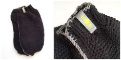 knitted & crochet legwarmers  black wool / anthrazit cotton yarn