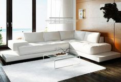 2226 Modern White Leather Sectional Sofa