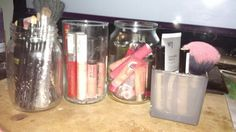 Storing my make up in old candle jars, i keep them in a draw as i dont have much space in my room to have them out.