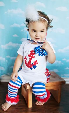 Girls' Ruffle Butt Nautical Onesie Set by BetterThanBows.etsy.com
