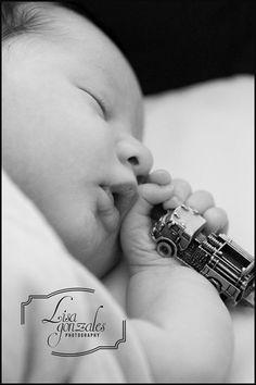 Newborn photography, firefighter theme