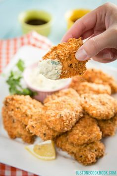 Crispy Salmon with homemade dipping tartar sauce | Easy Japanese Recipes at JustOneCookbook.com @justonecookbook