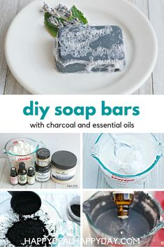 DIY soap bars using Charcoal, Clay, Goat's Milk Soap and Essential Oils. Make 12 bars in just an hour! Perfect bar soap for your face! Comes with free printable soap labels! Charcoal Bar, Facial Bar, Soap Labels, Face Soap, Essential Oils Soap, How To Make Paper Flowers, Soap Base, Diy Bar, Be Natural