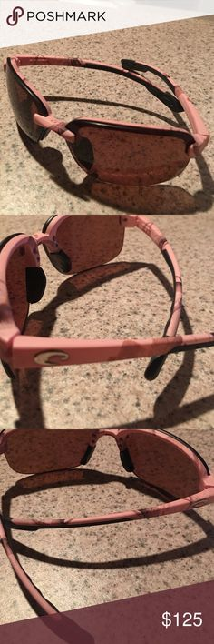 Pink Costa real tree sunglasses Worn twice only - bought these and ended up needing prescription sunglasses. Minimal signs of wear - final sale. Pink frame with real tree hunting pattern on frames. Costa Accessories Glasses