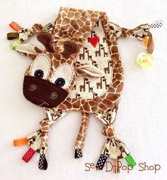 Tag Baby Blanket Giraffe Binkie Lovey Toy Friend by SewDPopShop