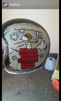 Custom paint on my helmet snoopy and the red baron