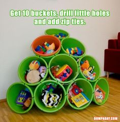 I wonder how it would work if you put an extra bucket in each one like the orange one is. Then you could take the orange one out to wherever you needed to go, and then just put it back. Like for small toys or center stuff. Simple Ideas That Are Borderline Crafty – 34 Pics
